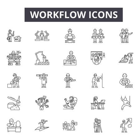 Workflow line icons, signs, vector set, outline concept, linear illustration 向量圖像