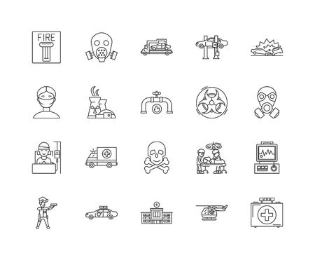 Accident line icons, signs, vector set, outline illustration concept Illustration