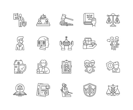 Advocacy line icons, linear signs, vector set, outline concept illustration  イラスト・ベクター素材
