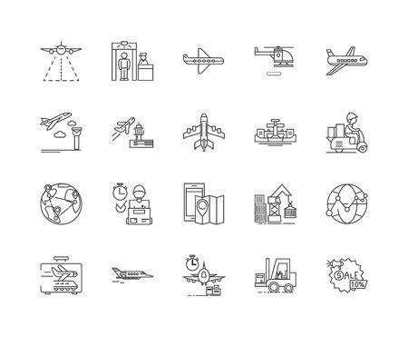 Iconos de línea de servicios aéreos, signos lineales, conjunto de vectores, ilustración del concepto de esquema