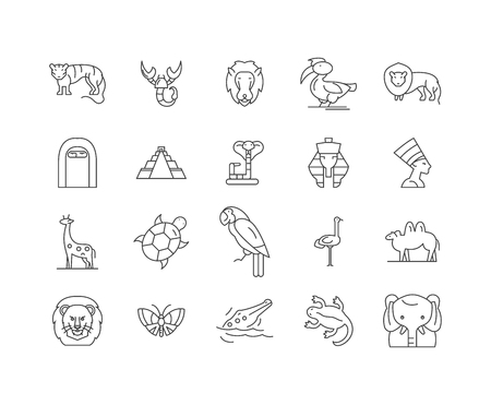 Africa line icons, linear signs, vector set, outline concept illustration Illustration