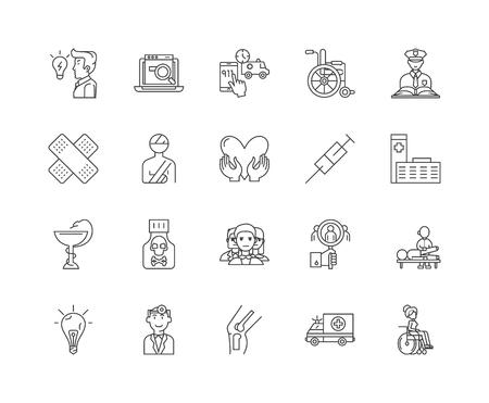 Accident investigation line icons, signs, vector set, outline illustration concept Illustration
