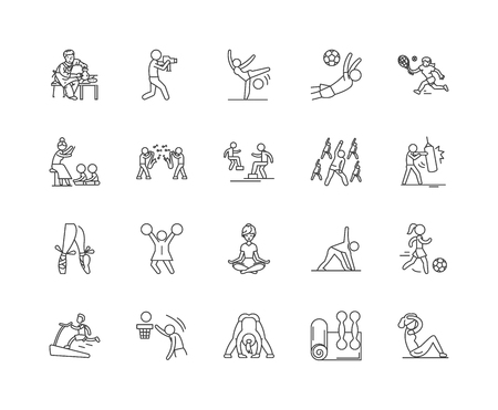 Activities centre line icons, linear signs, vector set, outline concept illustration