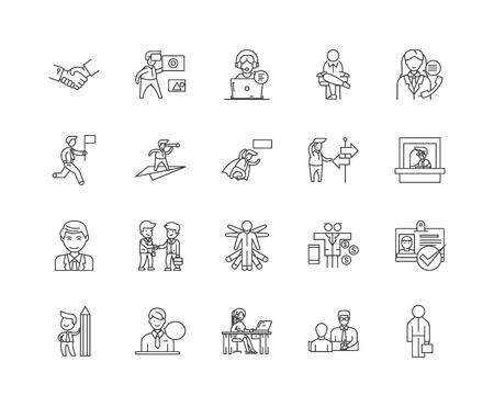 Icone della linea dell'agente, segni lineari, set di vettori, illustrazione del concetto di contorno Vettoriali