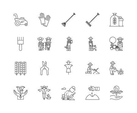 Agronomy line icons, linear signs, vector set, outline concept illustration Foto de archivo - 122420174