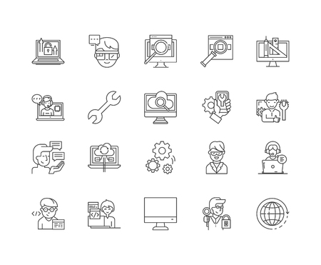 Admin line icons, linear signs, vector set, outline concept illustration Vettoriali