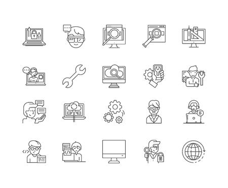 Admin line icons, linear signs, vector set, outline concept illustration Illustration
