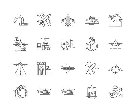 Icônes de ligne d'aéroport, signes linéaires, ensemble de vecteurs, illustration de concept de contour