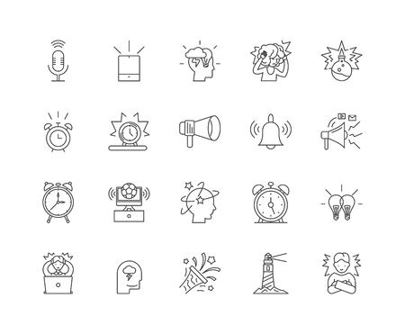 Alarm line icons, linear signs, vector set, outline concept illustration Illustration