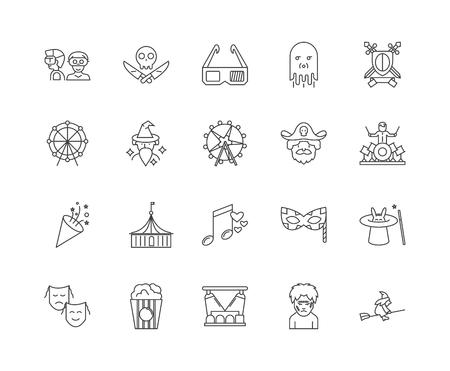 Icone della linea del parco divertimenti, segni lineari, set di vettori, illustrazione del concetto di contorno