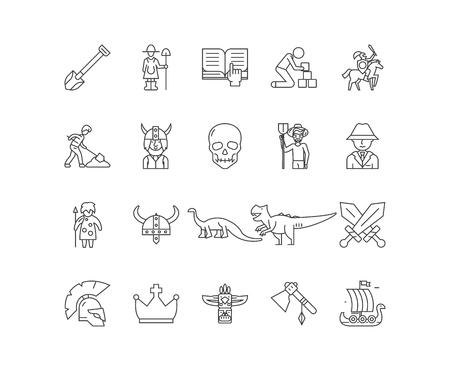Archaelogists line icons, linear signs, vector set, outline concept illustration Illusztráció