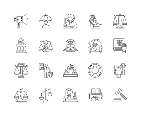 Arbitration line icons, linear signs, vector set, outline concept illustration 向量圖像