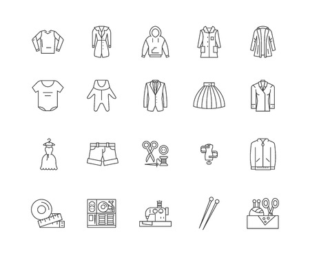 Apparel business line icons, linear signs, vector set, outline concept illustration Illustration