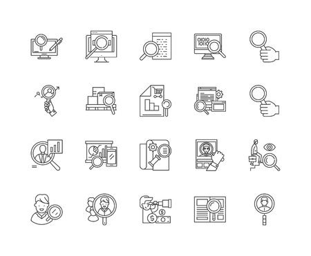 Assessment line icons, linear signs, vector set, outline concept illustration Ilustração