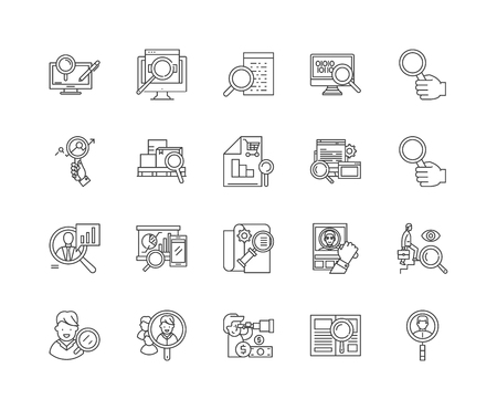 Assessment line icons, linear signs, vector set, outline concept illustration Illustration