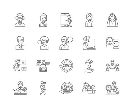 Assistance line icons, linear signs, vector set, outline concept illustration