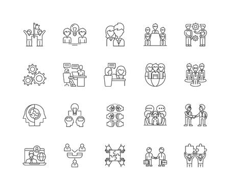 Assistant line icons, linear signs, vector set, outline concept illustration