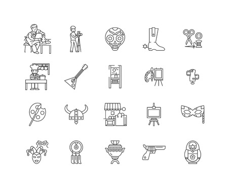 Art and craft shop line icons, linear signs, vector set, outline concept illustration