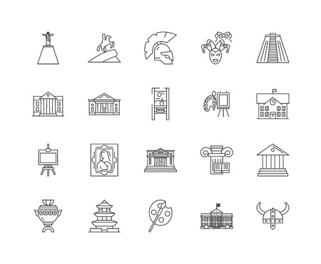 Art museum line icons, linear signs, vector set, outline concept illustration