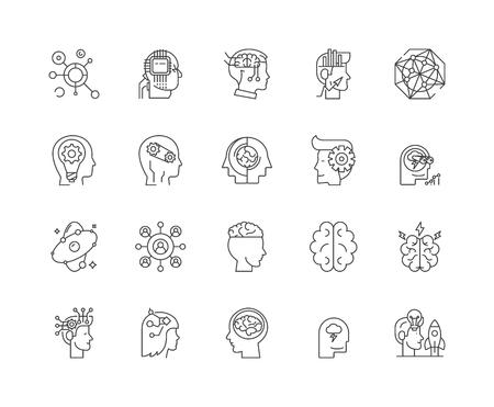 Icônes de ligne d'intelligence artificielle, signes linéaires, ensemble de vecteurs, illustration de concept de contour