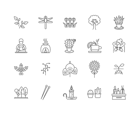 Alternative therapy line icons, linear signs, vector set, outline concept illustration