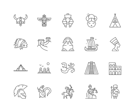 Ancient civilization line icons, linear signs, vector set, outline concept illustration