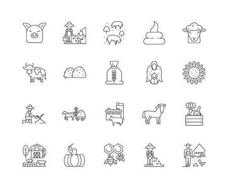 Icônes de ligne d'alimentation animale, signes linéaires, ensemble de vecteurs, illustration de concept de contour