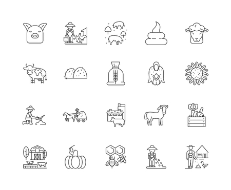 Animal feeds line icons, linear signs, vector set, outline concept illustration