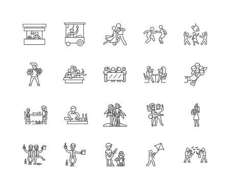 Anniversary line icons, linear signs, vector set, outline concept illustration