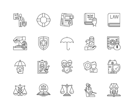 Attorneys line icons, linear signs, vector set, outline concept illustration