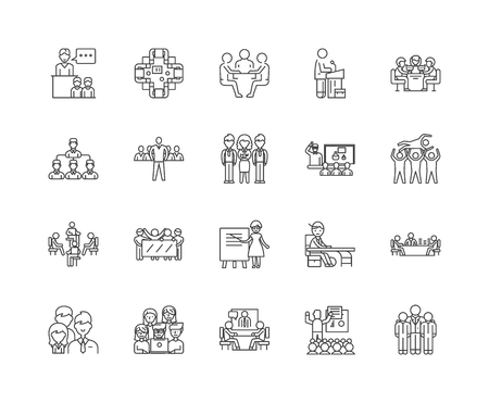 Audience line icons, linear signs, vector set, outline concept illustration