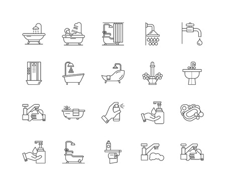 Bath line icons, linear signs, vector set, outline concept illustration Ilustração