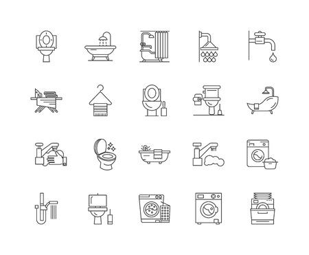 Bathroom line icons, linear signs, vector set, outline concept illustration
