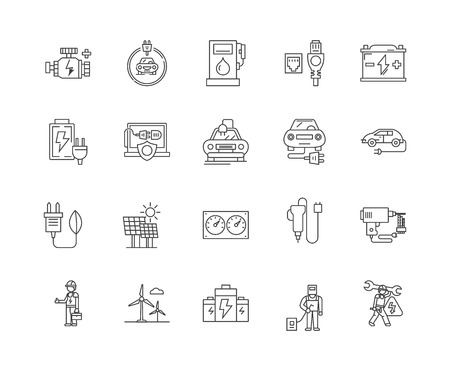 Batteries line icons, linear signs, vector set, outline concept illustration
