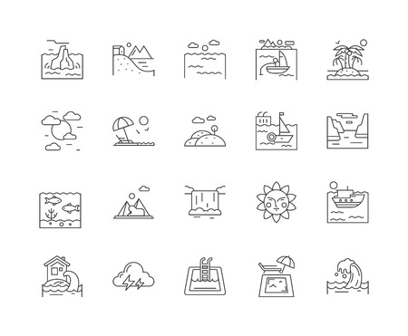 Beach line icons, linear signs, vector set, outline concept illustration
