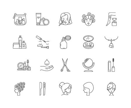 Icone della linea di bellezza, segni lineari, set di vettori, illustrazione del concetto di contorno Vettoriali