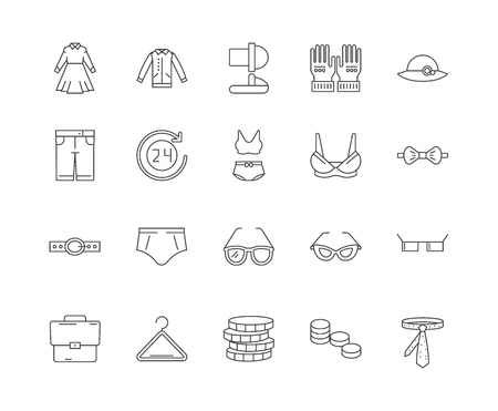 Apparel & accessory stores line icons, linear signs, vector set, outline concept illustration