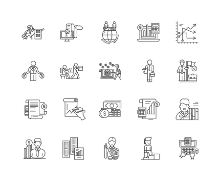 Audit and auditors line icons, linear signs, vector set, outline concept illustration
