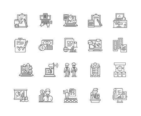 Auditors line icons, linear signs, vector set, outline concept illustration Illustration