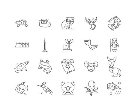 Iconos de línea de Australia, signos lineales, conjunto de vectores, ilustración del concepto de esquema