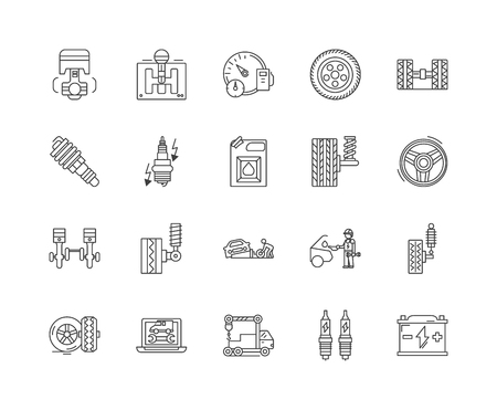 Auto parts sales line icons, linear signs, vector set, outline concept illustration