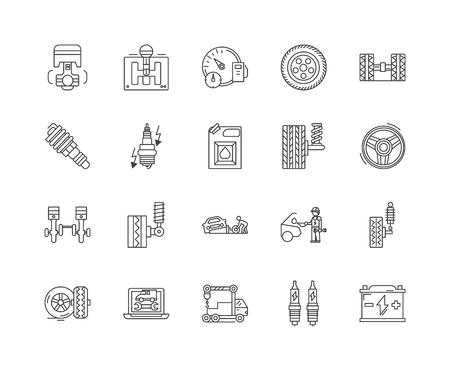 Auto parts sales line icons, linear signs, vector set, outline concept illustration