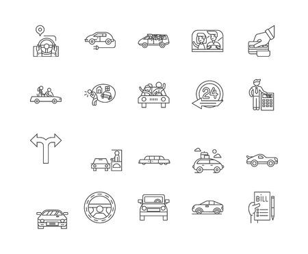Auto rental line icons, linear signs, vector set, outline concept illustration Illustration