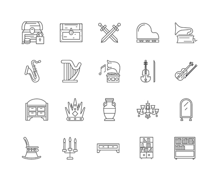 Antiques line icons, linear signs, vector set, outline concept illustration