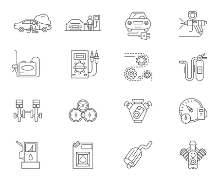 Auto service station line icons, linear signs, vector set, outline concept illustration Illustration