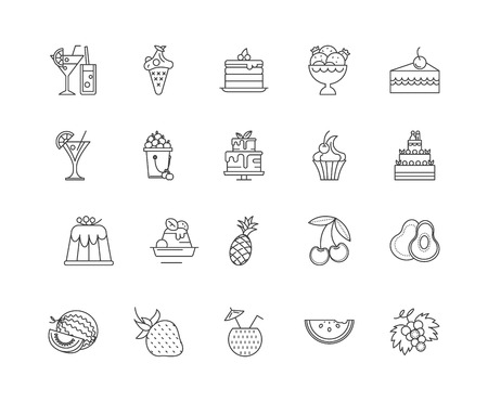 Berries line icons, linear signs, vector set, outline concept illustration Ilustracja