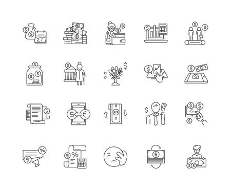 Bankruptcy line icons, linear signs, vector set, outline concept illustration