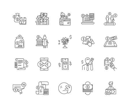 Bankruptcy line icons, linear signs, vector set, outline concept illustration