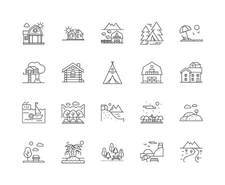 Barn holidays line icons, linear signs, vector set, outline concept illustration