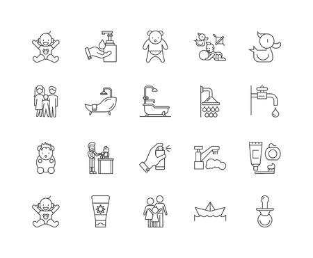 Iconos de línea de ducha de bebé, signos lineales, conjunto de vectores, ilustración del concepto de esquema